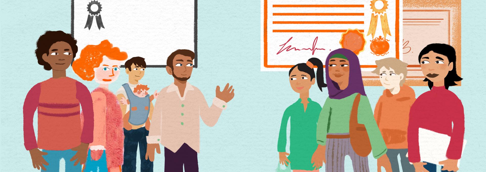 illustratie uit animatie samen kansrijk en gezond